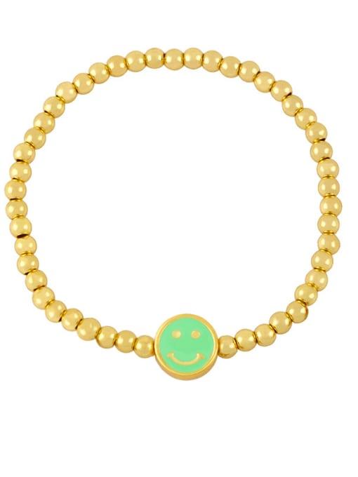 B (light green) Brass Enamel Smiley Vintage Beaded Bracelet