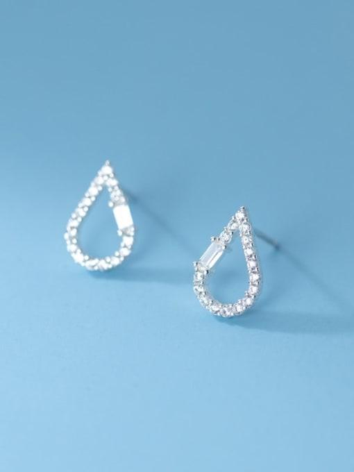 Rosh 925 Sterling Silver Cubic Zirconia Water Drop Minimalist Stud Earring