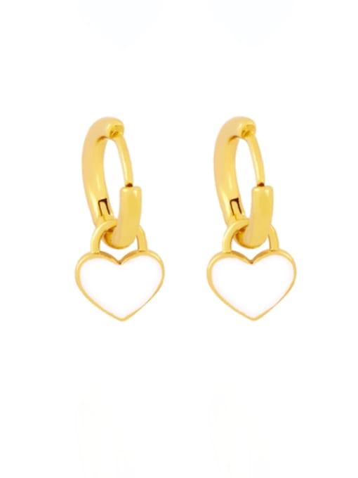 white Brass Enamel Heart Minimalist Huggie Earring