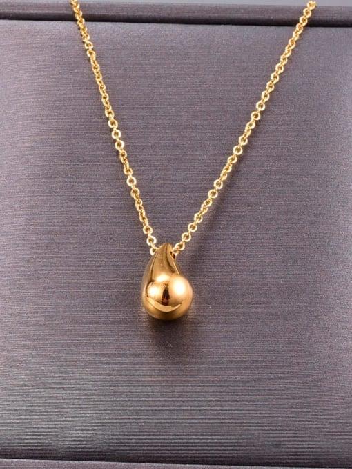 A TEEM Titanium Steel  Smooth Water Drop Minimalist Necklace 1
