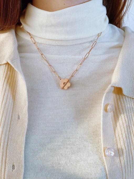 Open Sky Titanium Steel Flower Minimalist Pendant Necklace 3