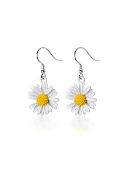 Rosh 925 Sterling Silver Flower Minimalist Hook Earring