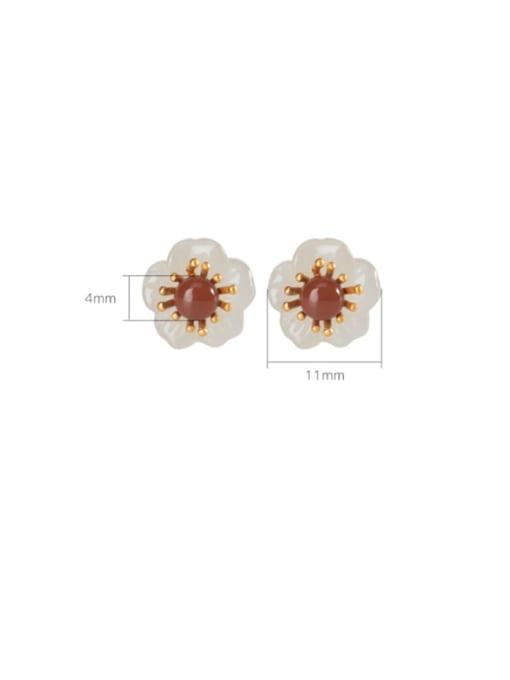 DEER 925 Sterling Silver Jade Flower Vintage Stud Earring 3