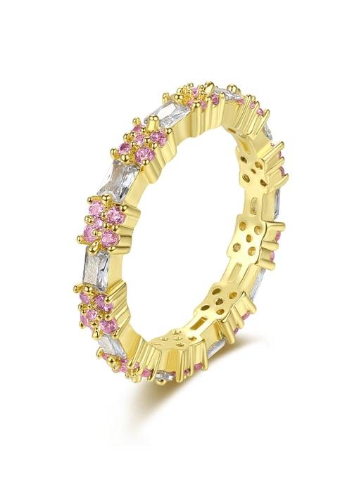 BLING SU Brass Cubic Zirconia Flower Minimalist Band Ring