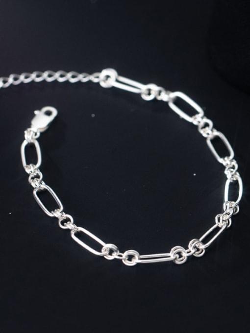 Rosh 925 Sterling Silver Geometric Minimalist Link Bracelet 2