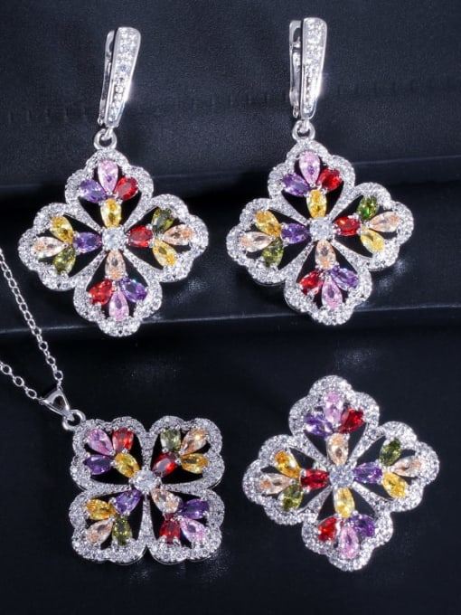 Color ring size 9 Brass Cubic Zirconia Luxury Flower  Earring Ring and Necklace Set