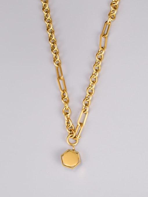 A TEEM Titanium Steel Imitation Pearl Hexagon Vintage Necklace 3