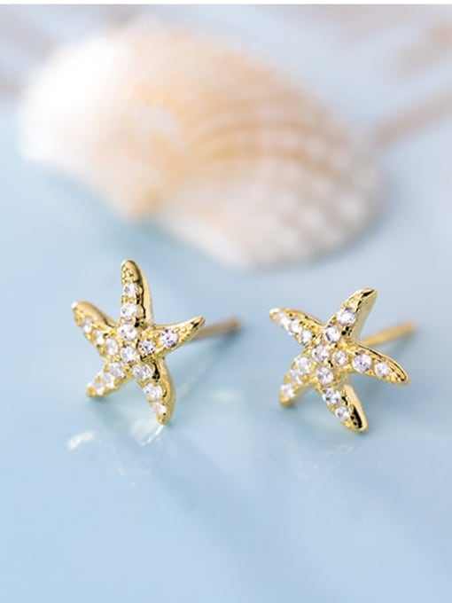 Rosh 925 Sterling Silver Cubic Zirconia Star Ethnic Stud Earring 3
