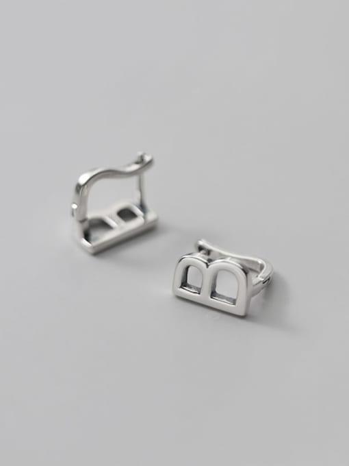 Rosh 925 Sterling Silver Letter Minimalist Stud Earring 4