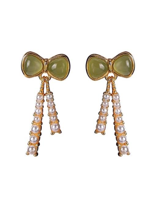 DEER 925 Sterling Silver Jade Butterfly Vintage Drop Earring 2