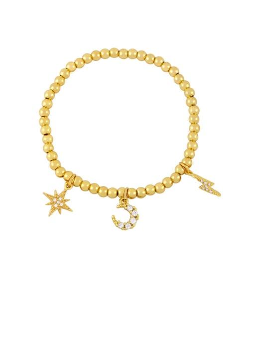 C Brass Cubic Zirconia Ball Hip Hop Beaded Bracelet