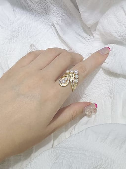 RAIN Brass Freshwater Pearl Geometric Vintage Stackable Ring 1