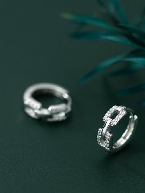 Rosh 925 Sterling Silver Cubic Zirconia Geometric Minimalist Huggie Earring 2