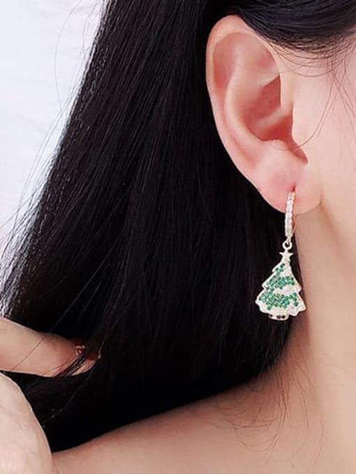 Luxu Brass Cubic Zirconia Tree Minimalist Huggie Earring 1