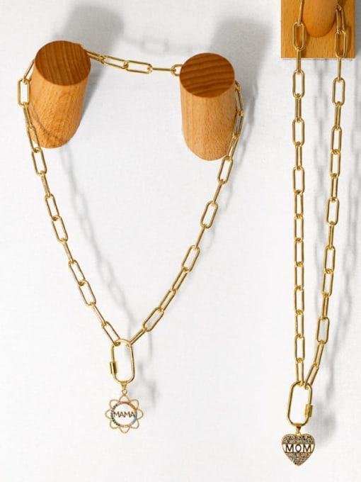 CC Brass Cubic Zirconia  Minimalist Letter Heart Pendant Necklace 4