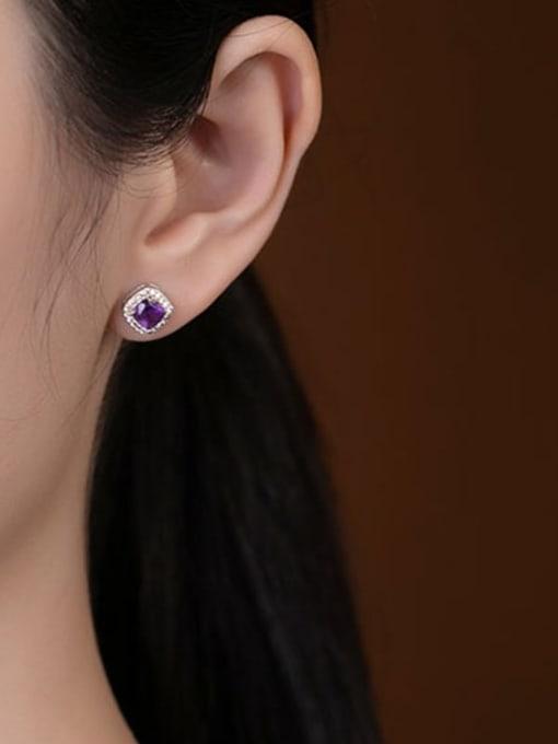 DEER 925 Sterling Silver Amethyst Square Dainty Stud Earring 1