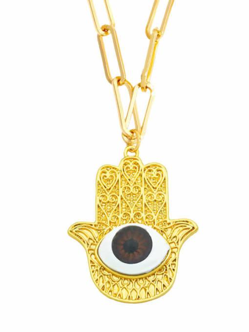 B (brown) Brass Cubic Zirconia Evil Eye Vintage Necklace