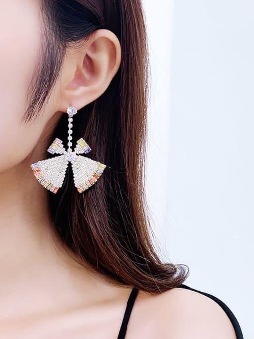 Luxu Brass Cubic Zirconia Triangle Statement Drop Earring 1
