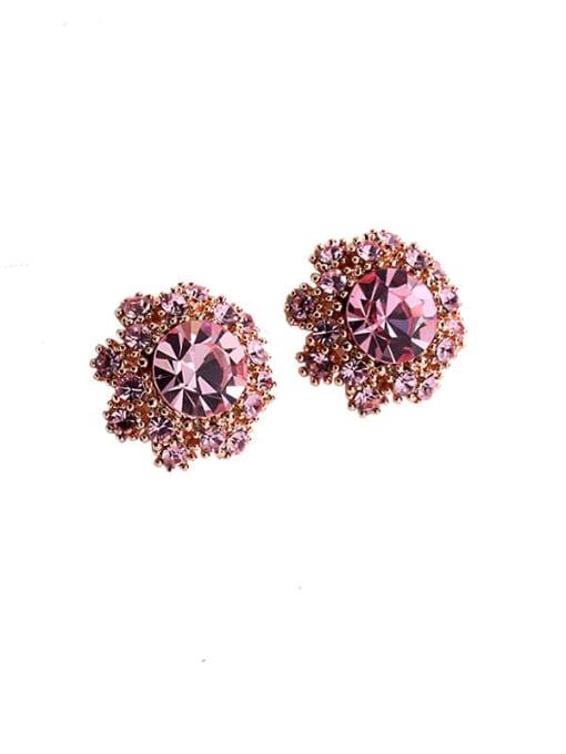 Luxu Brass Cubic Zirconia Flower Vintage Stud Earring