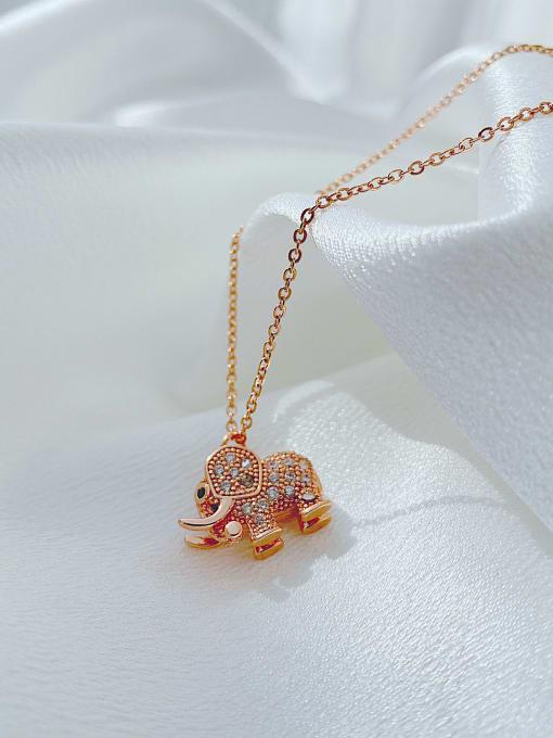 Open Sky Titanium Steel Cubic Zirconia Elephant Vintage Necklace 3