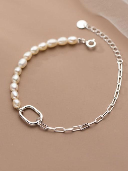 Rosh 925 Sterling Silver Freshwater Pearl Asymmetry Geometric Minimalist Link Bracelet 0