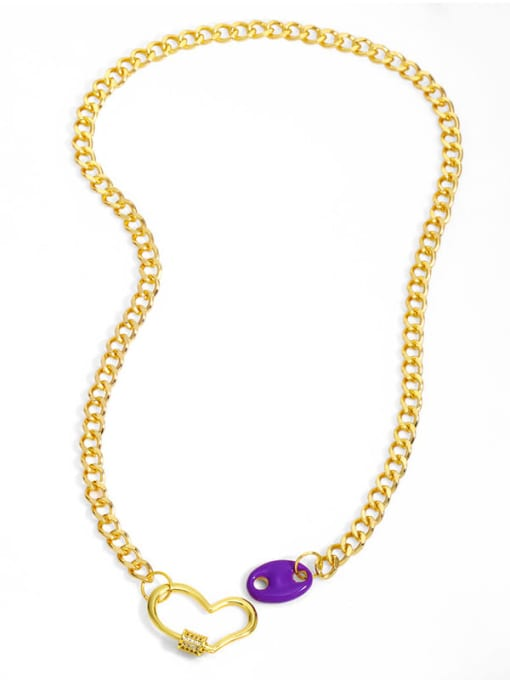 CC Brass Enamel Heart Hip Hop Hollow Chain Necklace 3