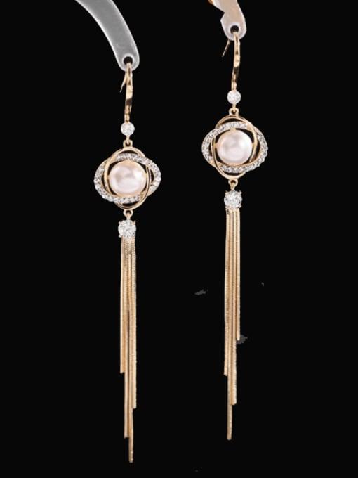 golden Brass Cats Eye Geometric Minimalist Hook Earring