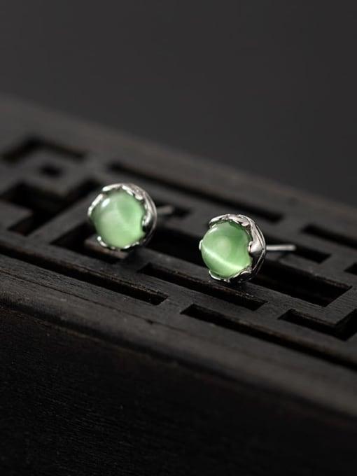 Rosh 925 Sterling Silver Opal Geometric Cute Stud Earring