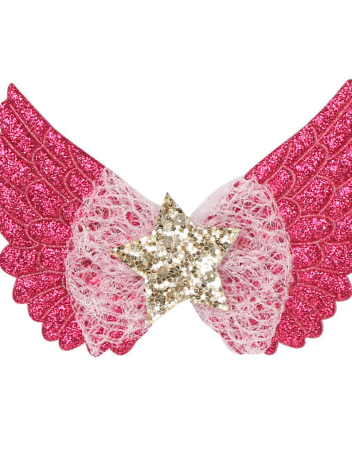 3 rose red Alloy  Silk Cute Butterfly Multi Color Hair Barrette