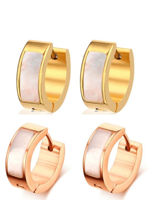 CONG Stainless steel Shell Round Minimalist Huggie Earring