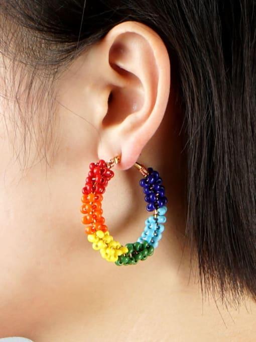 Roxi Stainless steel MGB  Bead Multi Color Geometric Bohemia Huggie Earring 1