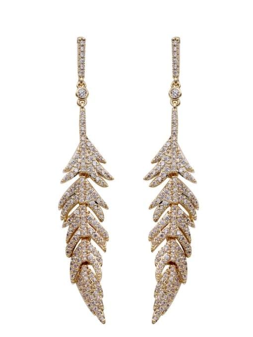 Luxu Brass Cubic Zirconia Leaf Vintage Drop Earring 3
