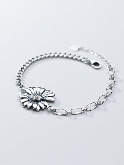 Rosh 925 Sterling Silver Rhinestone White Flower Vintage Link Bracelet 3