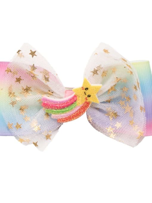 11 rainbow stars Alloy  Fabric Cute Bowknot Multi Color Hair Barrette