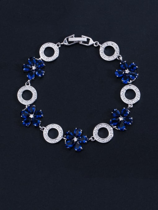 blue Brass Cubic Zirconia Flower Luxury Bracelet