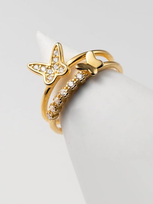 Rosh 925 Sterling Silver Cubic Zirconia Butterfly Minimalist Stackable Ring 0