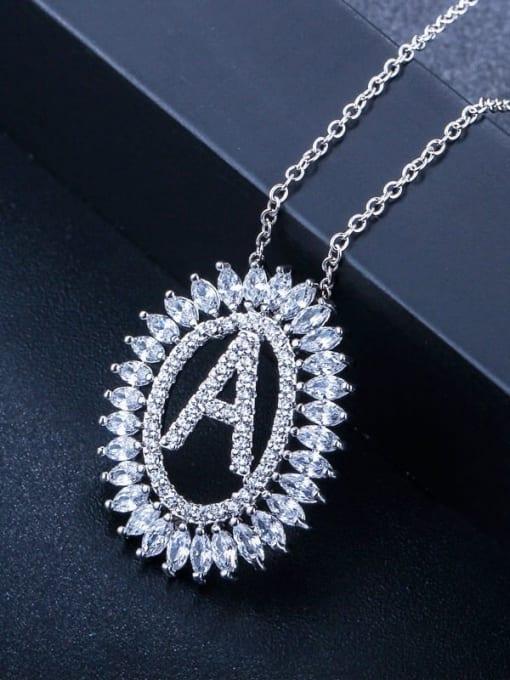 Letter a Brass Cubic Zirconia Geometric Luxury Letter pendant Necklace