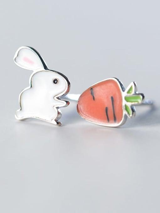 Rosh 925 Sterling Silver Enamel  Cute Carrot rabbit  Stud Earring