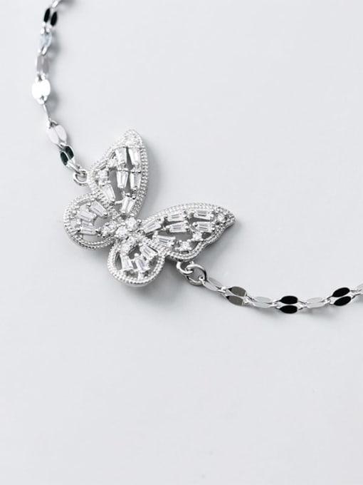 Rosh 925 Sterling Silver Cubic Zirconia Butterfly Dainty Link Bracelet 2