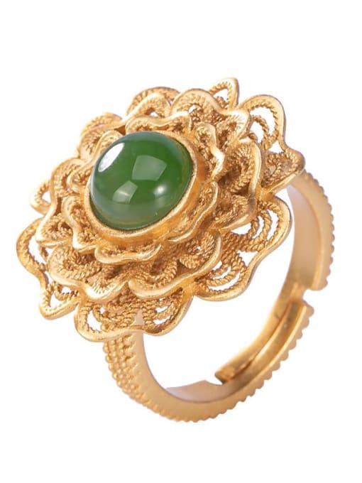 DEER 925 Sterling Silver Jade Flower Vintage Band Ring 3