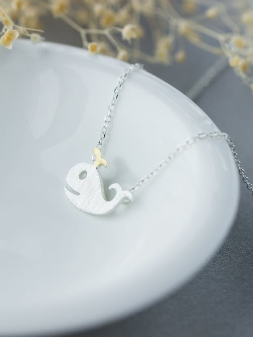 Rosh 925 Sterling Silver  Minimalist Dolphin Pendant Necklace 2