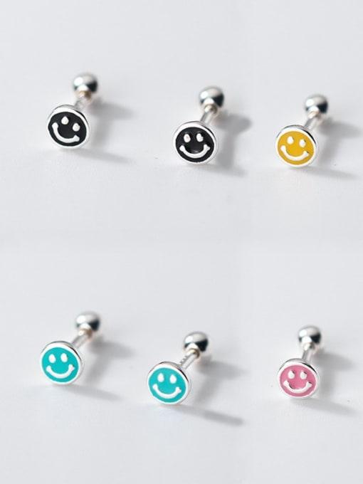 Rosh 925 Sterling Silver Enamel Smiley Minimalist Stud Earring 3