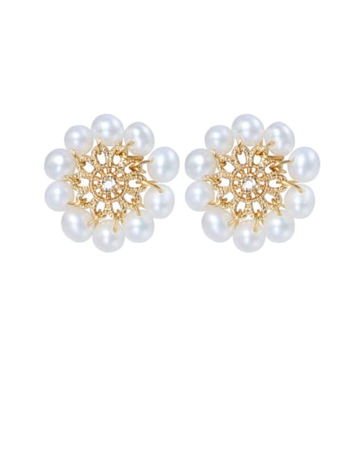 golden Brass Freshwater Pearl Flower Cute Stud Earring