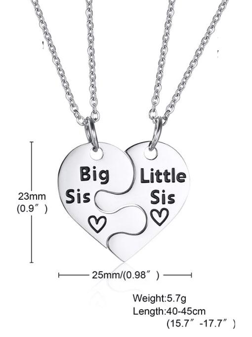 029 steel color, including 2 chains Titanium Steel Heart Minimalist  Letter Penadant Necklace