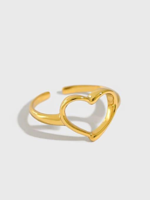 Dak Phoenix 925 Sterling Silver Hollow Heart Minimalist Band Ring