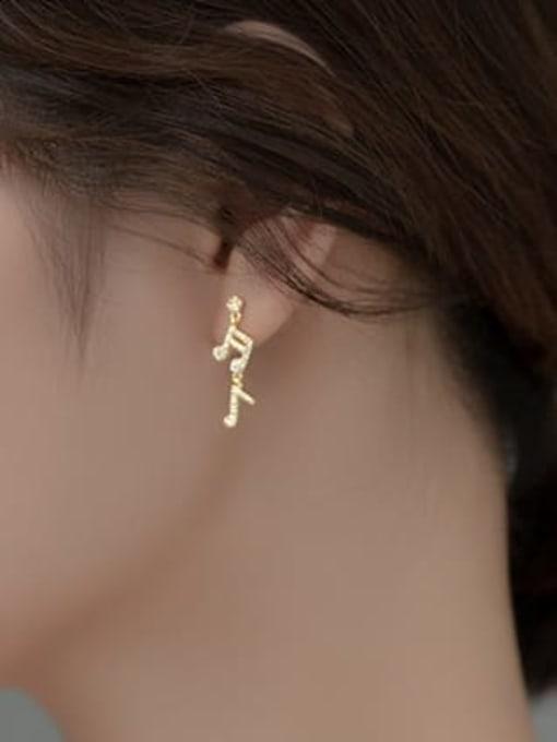 Rosh 925 Sterling Silver Cubic Zirconia Asymmetry Irregular Minimalist Stud Earring 2
