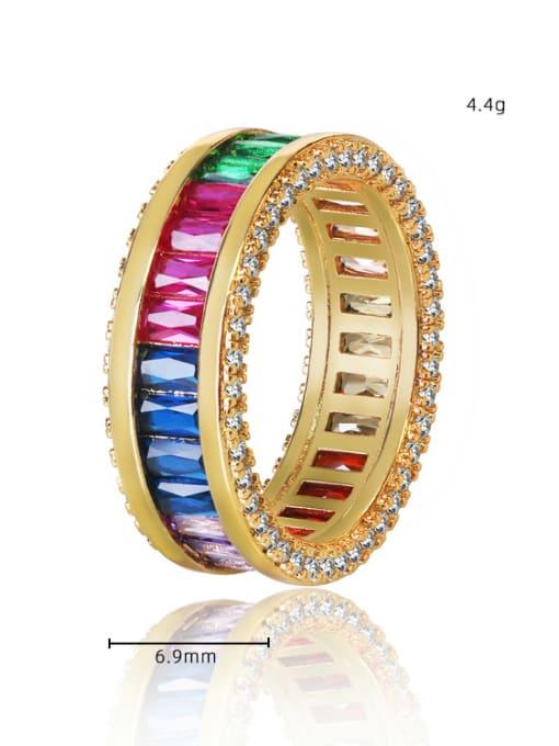 DUDU Brass Cubic Zirconia Geometric Luxury Band Ring 3