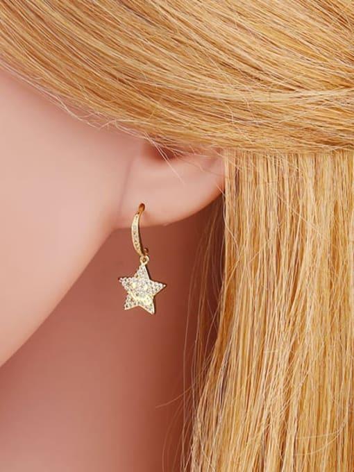 CC Brass Cubic Zirconia Star Hip Hop Hook Earring 2