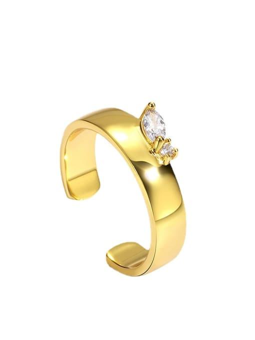 CHARME Brass Cubic Zirconia Geometric Minimalist Band Ring 3