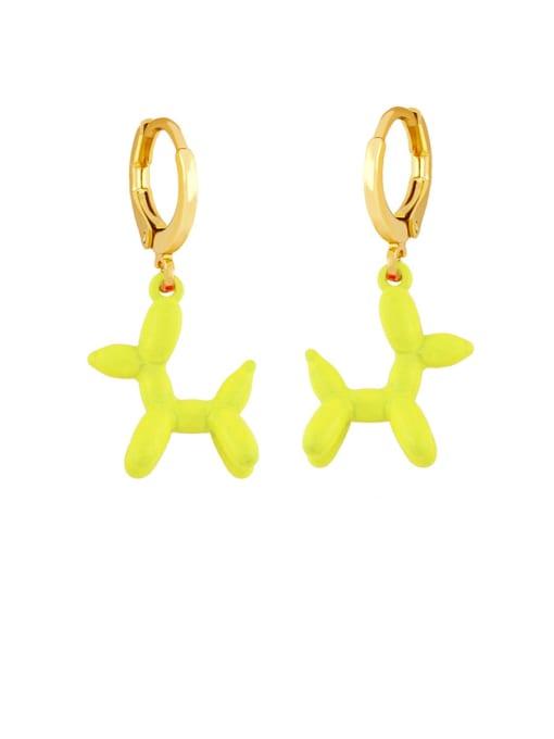 yellow Brass Enamel Dog Cute Huggie Earring